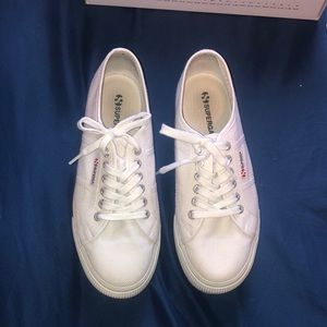 Women's white platform supergas